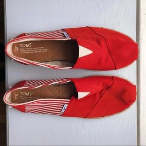 Red striped toms shoes